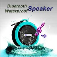 haut-parleur bluetooth ipx7 achat en gros de-Mini C6 IPX7 Sports de plein air Douche Étanche Sans Fil Bluetooth Haut-Parleur Ventouse Mains Libres MIC Boîte Vocale Pour iPhone6 Plus HTC Samsung S6