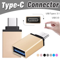 Wholesale Otg Adapter Iphone - Metal USB 3.1 Type C OTG Adapter Male to USB 3.0 A Female Converter Adapter OTG Function for iPhone Samsung Macbook Google Chromebook Xiaomi