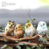 kuş süsleme toptan satış-4 stil mikro mini peri bahçe minyatürleri figürinler Baykuş kuşlar hayvan Action Figure Oyuncaklar süs teraryum aksesuarları film sahne