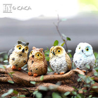 Wholesale Black Bird Types - 4 style micro mini fairy garden miniatures figurines Owl birds animal Action Figure Toys ornament terrarium accessories movie props