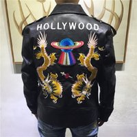Wholesale Hollywood Hearts - 2017 Luxury brand men's leather, embroidered UFO dragon Pierced Heart, Hollywood alphabet, leather jacket, Asian size