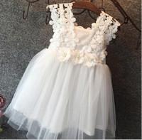 häkeln sonne großhandel-2016 Sommer 3D Blumen Häkeln Kleider Mädchen Spitze Sleeveless Sun Kleid Kinder Tutu Kleid Party Kleid freies Verschiffen K6543