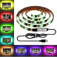 12v führte 24v ac großhandel-DIY 5050 RGB LED Streifen wasserdichte DC 5V USB LED Lichtstreifen flexibles Band 50CM 1M 2M 3M 4M 5M hinzufügen Fernbedienung für TV-Hintergrund