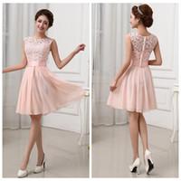 Wholesale Elegant Short Feather Prom Dresses - 2015 New Women Lace Chiffon Fold Dress Elegant Fashion White Pink O-Neck Sleeveless A-Line Waist Slim Short Bridesmaid Party Prom Dresses