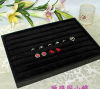 Wholesale Earring Covered Trays - Wholesale-FBH042170 JEWELRY STORAGE No cover leather black ring display earring display rack tray