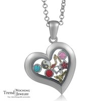 Wholesale Glass Globe Necklace - Heart Pendant Floating Charm Locket Necklace Glass Globe Locket Crystal Silver Necklace with Stainless Steel Chain VA-068