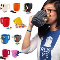 Wholesale brick mug for sale - Group buy Drinkware Building Blocks Mugs DIY Block Puzzle Mug Ml Build On Brick Creative Mug Coffee mugs Cup