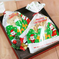 Wholesale Cookies Packaging Christmas - Christmas Cake Cookie Bag Eco-friendly Package Gingersnap New Year Kitchen (100 pcs) Bakery Roast Packing Packaging Bags