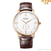 Wholesale Eyki Watches Overfly - EYKI OVERFLY Luxury Brand Genuine Leather Strap Analog Date Stop Watch Quartz Watch Casual Watch relogio masculino