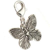 kelebek zanaat gümüşü toptan satış-Klipsler Dangles Ile DIY Charms Kolye El Sanatları Anahtar Zincirleri Kolye Kelebek Vintage Gümüş Metal Tedarikçiler Takı Bulguları Için Yeni 200 adet