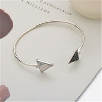 Wholesale geometric bracelets online - Fashion Gold Plate Black White Geometric Triangle Open Cuff Punk Bracelet Bangle Faux Marble Stone pulseras