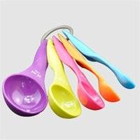 Wholesale Spoons Supplies - Combination Measuring Spoon With Scale Used for Baby Milk spoon Soup Spoon Condiment Spoon Kitchen Supplies 5PCS LOT JJ247