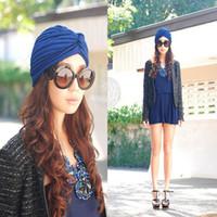Wholesale Indian Hat Bands - Fashion Stretch Summer Style Head Indian Turbans Hats Headband For Women Band Sleep Cap Chemo Bandana Hijab Touca Gorros Hat
