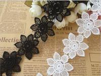 Wholesale Lace Applique Black Venise - Lace Trim Black Fabric Flower Venise Lace Trim Applique Dentelle Sewing Accessories Daisy Lace Trim 4cm Width 5 yards Lot