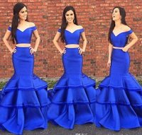 Wholesale Hot Prom Silk Dress - 2017 new Layer Ruffles Royal Blue Two Pieces Prom Dresses Hot Mermaid 2017 Off Shoulders Floor Length Satin Party Evening Gowns Formal Wear