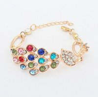 Wholesale Bird Rhinestone Bracelets - Elegant Romantic Fashion Gold Plated Colorful Crystal Rhinestone Peacock Bird Charms Bracelet Wholesale 12 Pcs