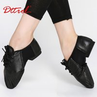 Wholesale Dance Jazz Shoes For Men - Wholesale-Geniune leather lace-up men women jazz dance shoes shoes for dance cow suede sole athletic shoes dancing shoes for adult 6062