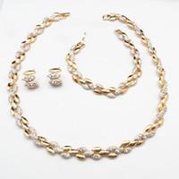 Wholesale Luxury Bridal Crystal Bracelet - 24KGP Luxury Wedding Bridal Necklace Earrings Bracelet Women Party Costume Jewelry Sets 690