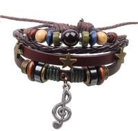 Wholesale Charms Pendants Music - 2014 Hot Sale Fashion Multilayer Leather Strap Bracelets & Bangles Vintage Three Stars Musical Note Pendant Bracelet For Women Men