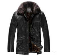 Wholesale Mens Add Jackets - Fall-Winter Jacket Men!High-end Classic Add Wool Warm Winter Black Leather Jacket Men Fashion Leather Jacket Mens Jackets And Coats