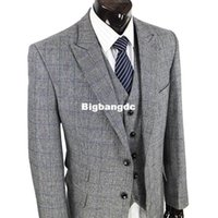 Wholesale Wedding Dresses For Men Suits - 1225 Wool Retro gentleman style tailor suits for men wedding party dresses custom made slim fit men 3 piece suits