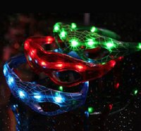 Wholesale Party Glasses Spiderman - LED Light Flashing Spiderman Glasses for Cheer Dance Mask Christmas Halloween Days Gift Novelty LED Glasses Toy Party Glasses