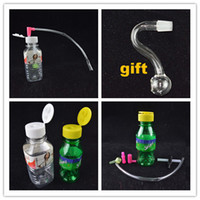 Wholesale S Mini Inch - Portable Smoking Smart Plastic Oil Rig 10mm joint Smart Stoned Spring Water Mineral Water Bottle 4 inch Mini Water Bongs Gift S Shape Bowl