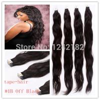Wholesale Off Black Brazilian Hair - Remy hair Brazilian water wave virgin hair 30inch hair human Skin weft 100g 40pcs lot Tape hair extension #1B Off Black