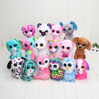 15pcs gros gros-bas prix Bonne 17cm Qualité Ty Beanie Boos Big Eyes Husky Dog Peluche animal mignon farci Doll