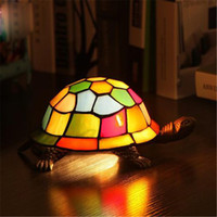 Wholesale Vintage Stained Glass Table Lamp - Vintage Tortoise Table Lamp Retro Bedroom Lamp Bedside Fashion Study Room Bar Cafes Tortoise Table Lamps Fashion Creative Night lights