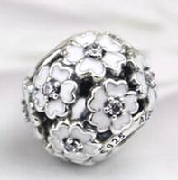primelcharme großhandel-Primrose Charm 2015 925 Sterling Silber Bead mit klaren Cz und weißer Emaille passt europäischen Pandora Schmuck Armbänder Halsketten Anhänger