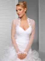 elfenbein organza bolero großhandel-Lange Ärmel Tüll Rüschen weiße Elfenbein-Brautverpackungen Jacken Hochzeit Boleros Tücher