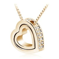 Wholesale Costume Jewellery Wholesalers - New Arrival 18K Gold Jewellery & Silver Plated Crystal Heart Shape Love Fashion Necklaces Colar Costume Jewelry for Women 2891