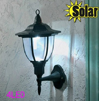 Wholesale Wholesale Solar Pathway Lights - Outdoor Ancient Solar Wall light Lamp 4LED+ Palace design Fence Corridor Lights Garden Yard Pathway Stair Lamps Mounted Lighting