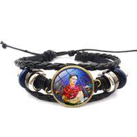 Wholesale leather wrap bracelets for women - Frida Kahlo Jewelry Beauty Frida Kahlo Portrait Glass Cabochon Bracelets Weave Multilayer Wrap Bracelet Bangle Cuff for women 162470