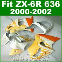 Wholesale orange white motorcycle fairings - Motorcycle fairings for kawasaki ZX6R 636 00 01 02 plastic fairing kit ZX636 ZX-6R 2000 2001 2002 orange flames in white bodywork JK56