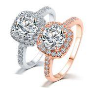 Wholesale Rhinestone Rings Side Stones - Crystal Rhinestone Wedding Ring With Side Stones Rose Gold White Gold Size 6 7 8 9 Band Finger Ring For Women Stocks
