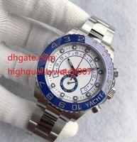 beyaz seramik otomatik erkek saatleri toptan satış-Sıcak Satış Mens Watch YACHT II 116680 Beyaz Kadran 44mm Otomatik Mekanik Seramik Çerçeve Safir Cam Orijinal Toka Master Erkekler Saatler