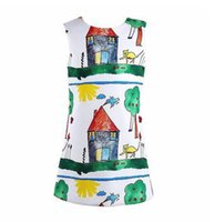 Wholesale Dress Patterns For Children - Nicoevaropa Baby Girls Dress Children Printed House Tree Scrawl Dress for Girls Kids Clothes Graffiti Pattern Clothing