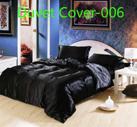 Wholesale Green Queen Size Quilt - BLuxury Brandl Black white red blue pink satin silk 1pcs Duvet Cover Quilt Cover bedding Home Textile Twin Full Queen King size Wholesale