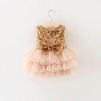 Wholesale Girls Sequin Gauze Dress - 2016 Summer New Girl Dresses Kids Sequins Bow Tiered Gauze Party Sundress Children Princess Dress Children Clothing 16882
