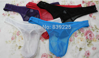 Wholesale Wholesale Mens G Strings - Wholesale-Free shipping 12pcs  Lot Men's sexy Thong mens thongs and g strings gauze Male Underware Panties 5 colors Small wholesale