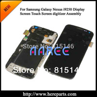 Wholesale Nexus Lcd Screen - Wholesale-Free shipping Original Full LCD display+Touch Screen Digitizer + frame For Samsung GALAXY Nexus GT-i9250 --- Black