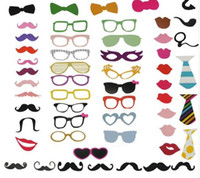Wholesale photo stick lips glasses for sale - Group buy New Fun Photo Booth Set PhotoBooth Props Lip Mask Hat Glass Colorful Card On A Stick Wedding Party Decoration Favor