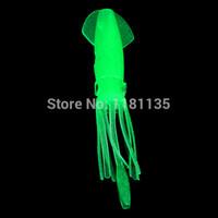 ingrosso luci di polpo-Il trasporto libero 10 pz / lotto 4.3 pollice B2 pesca plastica morbida polpo corpi di calamaro luminoso verde chiaro esche glow in buio