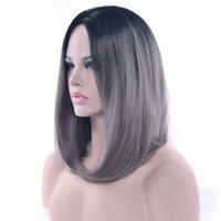 Wholesale bob red ombre wigs online - hanzi_beauty Colors Synthetic Hair Black To Gray Purple Ombre Hair Short Bob Wigs for Women Straight Hair Headwear Cosplay Wig