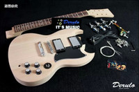 Wholesale Diy Unfinished Guitars - DIY Electric Guitar Kit Set-In Solid Mahogany Unfinished Luthier