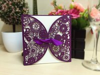 Wholesale Butterfly Envelopes - Lace Hollow Wedding Invitations Card Personalized Butterfly Cards with Pierced Card Inner Sheet Envelope 15*15CM Purple Beige Color IC1