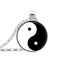 Wholesale Chinese Glass Plates - Chinese Tai Chi Bagua map Retro necklace Glasses Pendant Necklace Women Girls Sweater Chain Gift For Kids with Organza bag
