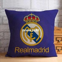 Wholesale Office Couches - Cotton Linen Real Madrid badge blue pillowcase party decorative throw pillow cover for sofa couch office chair Car Cushion cover